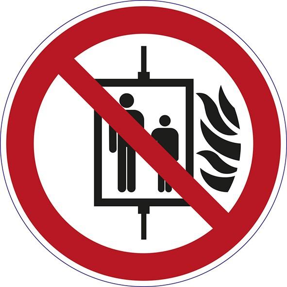 ISO 7010 - P020 - Aufzug im Brandfall nicht benutzen