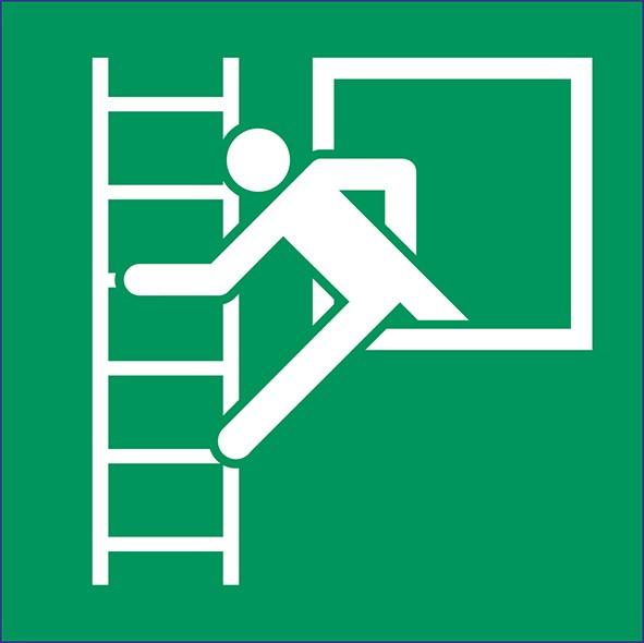 ISO 7010 - E016 - Notausstieg mit Fluchtleiter