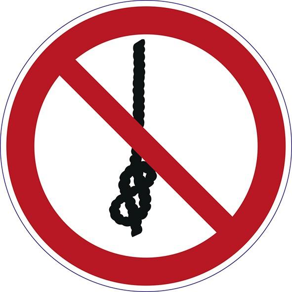 """Verbotszeichen """"Das Knoten von Seilen ist verboten"""" P030"""
