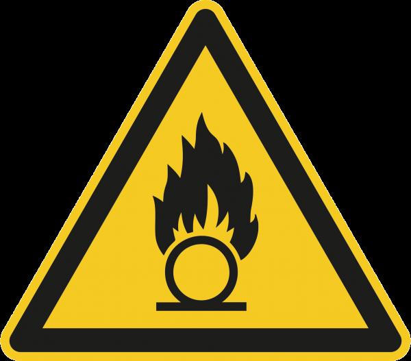 """Warnzeichen """"Warnung vor brandfördernden Stoffen"""" W028"""
