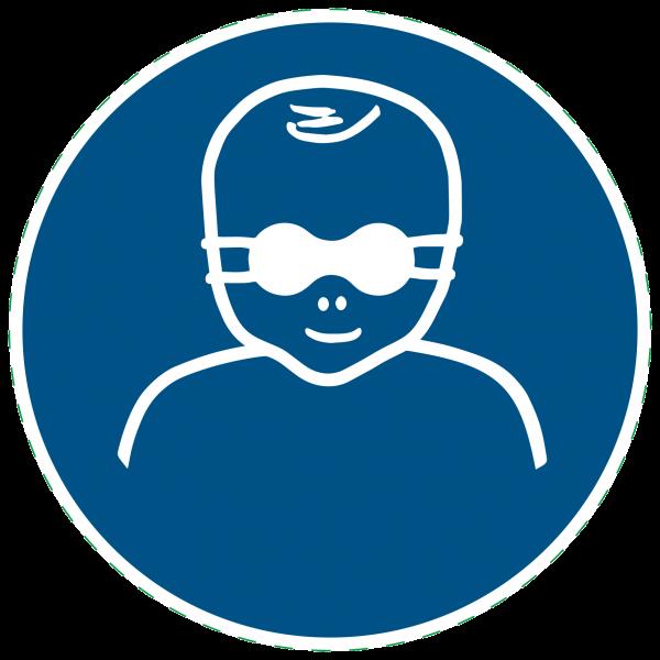 ISO 7010 - M025 - Kleinkinder durch weitgehend lichtundurchlässige Augenabschirmung schützen