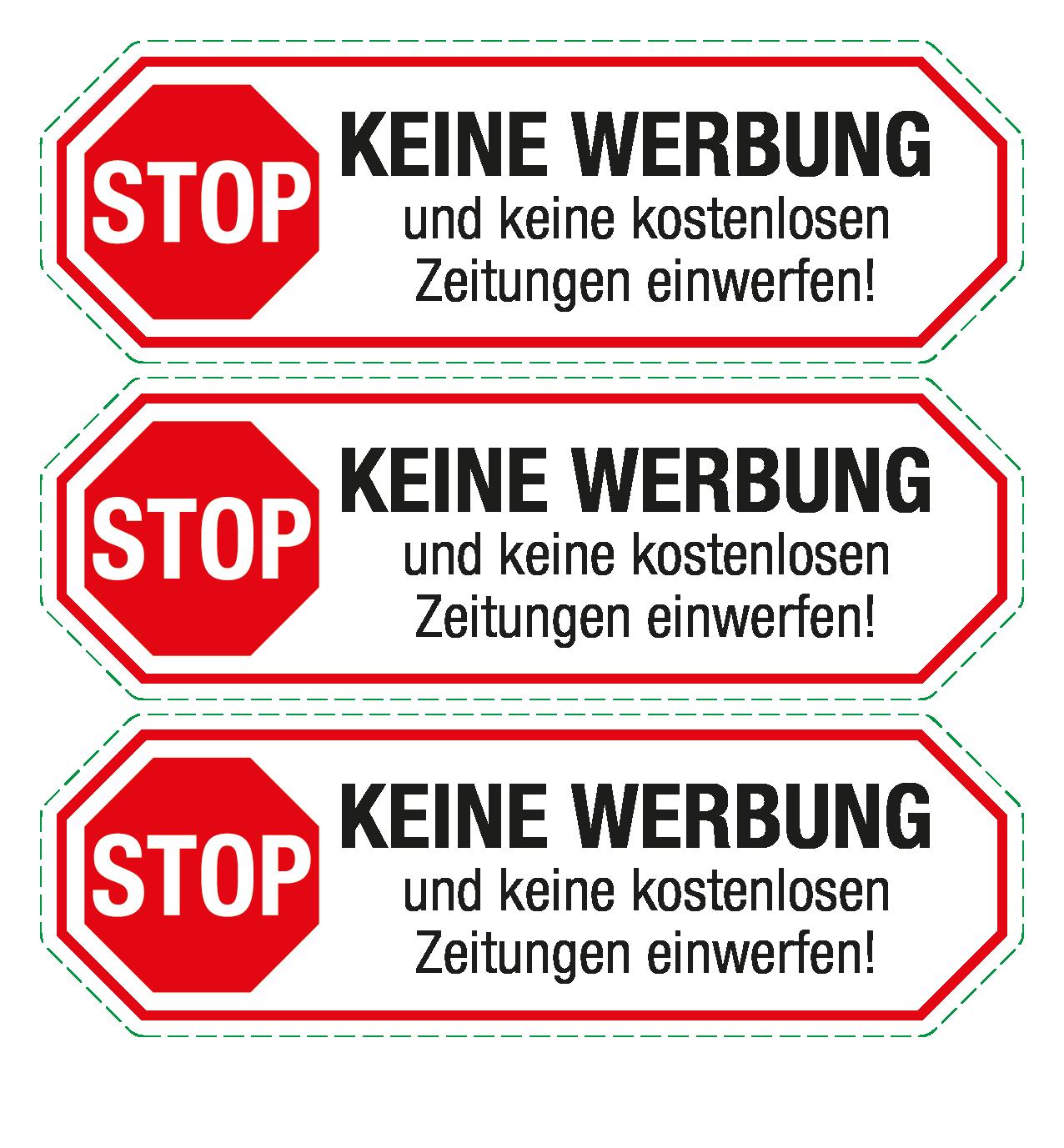 Briefkastenaufkleber Stop Keine Werbung Und Keine Kostenlosen