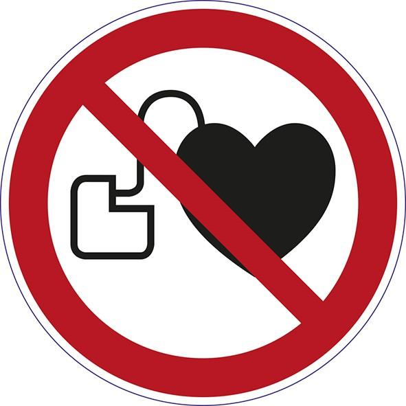 ISO 7010 - P007 - Kein Zutritt für Personen mit Herzschrittmachern o. implantieren Defibrilatoren