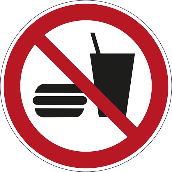 ISO 7010 - P022 - Essen und Trinken verboten